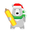 Christmas polar bear holds a pencil illustration of on white background Stock Images