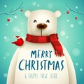 Christmas Polar Bear with Red Scarf. Royalty Free Stock Photo