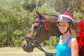 Christmas pony charity ride south african teenager anne fulton decks her horse out with tinsel for an annual through a rural part Royalty Free Stock Images