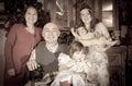 Christmas portrait of happy family imitation aged photo photographer Stock Image