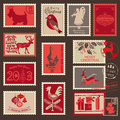 Christmas postage stamps design scrapbook Royalty Free Stock Images