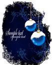 Christmas postcard with blue balls and snow Stock Images