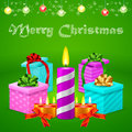 Christmas postcard with colorful gift boxes and different candle illustrations of for Stock Photo