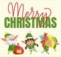 Christmas Postcard Elf with Present Box Vector Royalty Free Stock Photo