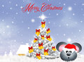 Christmas postcard illustration of family mice at Royalty Free Stock Photos