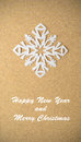 Christmas postcard with true paper snowflake vintage Royalty Free Stock Image