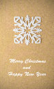 Christmas postcard with true paper snowflake vintage Stock Images