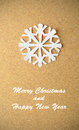 Christmas postcard with true paper snowflake vintage Stock Image