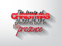 Christmas poster the beauty of is not in the presents but in his presence typography background Stock Images
