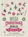 Christmas poster for big sales. New year voucher deals discounts vector coupon template