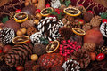 Christmas potpourri with dried lemon cranberries and pinecones Royalty Free Stock Photography