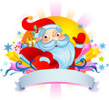 Christmas poust card with santa greeting claus cartoon Royalty Free Stock Images