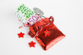 Christmas present advent calendar small bag with money on white background Stock Photo