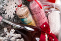 Christmas present in basket with  pastry, wine, decor Royalty Free Stock Photo