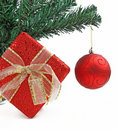 Christmas present with Christmas tree ball Stock Photography