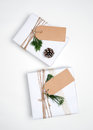Christmas present gift boxes collection with tag for mock up template design. Royalty Free Stock Photo