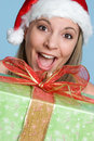 Christmas Present Girl Royalty Free Stock Image
