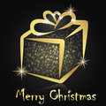 Christmas present in a golden box Royalty Free Stock Photo