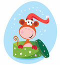 Christmas present: Monkey in green box Royalty Free Stock Photography