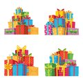 Christmas presents in gift boxes. Birthday present box, xmas gifts pile isolated vector illustration