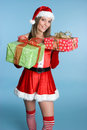 Christmas Presents Girl Stock Photo
