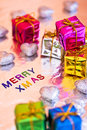 Christmas presents and Merry Xmas writing Royalty Free Stock Image