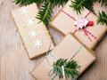 Christmas presents on wooden background,