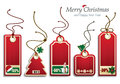 Christmas price tags vector illustration representing a set of five elegant with motives Stock Photos
