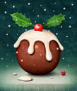 Christmas pudding card or poster with plum computer graphics Royalty Free Stock Photos