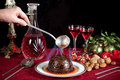 Christmas pudding flambe Stock Photo