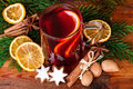 Christmas punch Mulled wine rustic decoration top view