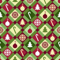 Christmas quilt pattern a red green and yellow seamlessly repeatable Royalty Free Stock Images