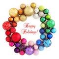 Christmas rainbow wreath decoration on white Royalty Free Stock Photo