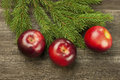 Christmas red apples still life on a wooden surface Royalty Free Stock Photography