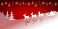 Christmas red background with Santa Claus on deer