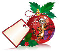 Christmas red ball with tag sticker Royalty Free Stock Photography
