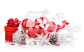Christmas red balls with festive tinsel ball on white background Royalty Free Stock Image