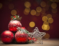 Christmas red bauble decoration with Royalty Free Stock Photos