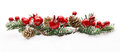 Christmas Red Berries Decoration, Berry Branch Pine Tree Cone