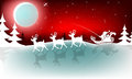 Christmas red design with Santa Claus on reindeer
