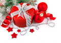Christmas red gift with branch Stock Images