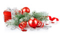 Christmas red gift with branch firtree Stock Photo