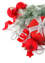 Christmas red gift with firtree Royalty Free Stock Images