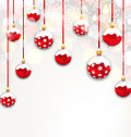 Christmas Red Glassy Balls on Shimmering Light Background