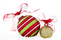 Christmas Red Green Gold Ball Ornaments with Ribbon Snow Royalty Free Stock Photo