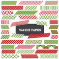 Christmas red and green washi tape strips clip art photo frame borders blog web decorative layout element scrapbook embellishment Stock Photo