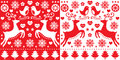 Christmas red greetings card pattern with reindeer - folk art style