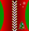 Christmas red lacing decoraded tree and snowflakes Royalty Free Stock Images
