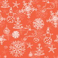 Christmas red seamless pattern with cats Royalty Free Stock Photography