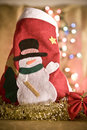 Christmas red sock with snow man Royalty Free Stock Photo